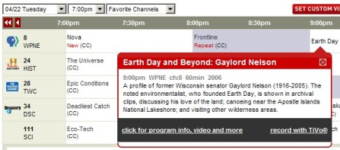 Find Earth Day Related TV