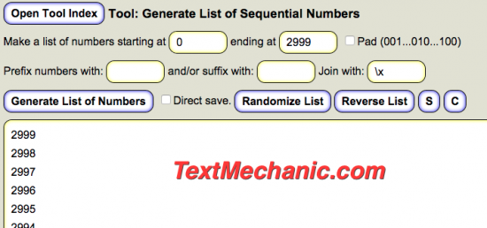 Use Text Mechanic to Generate List of Sequential Numbers