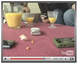 Cell phone pops popcorn video