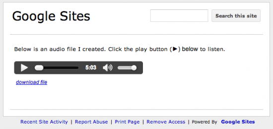 audio player in Google Sites