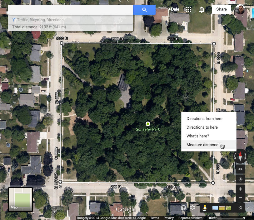 Take math class into Google Maps and measure – dalebasler com