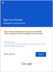 Chrome sign in screen